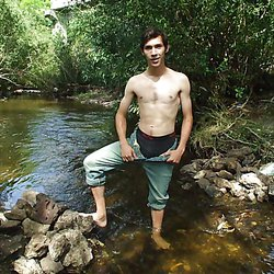 Attractive latin guy on the nature